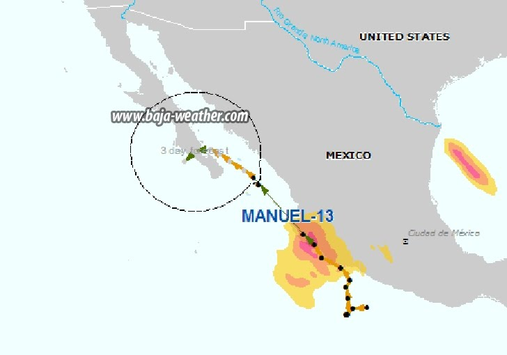 Center of Tropical Depression Manuel