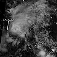 Satellite image shows Hurricane Manuel near peak intensity on Sept. 19, 2013, before its second landfall on western Mexico