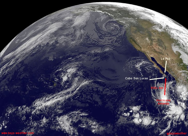 The hurricane AMANDA is centered about 620 miles (995 kilometers) south-southwest of the southern tip of Mexico's Baja California peninsula and is moving north-northwest near 5 mph