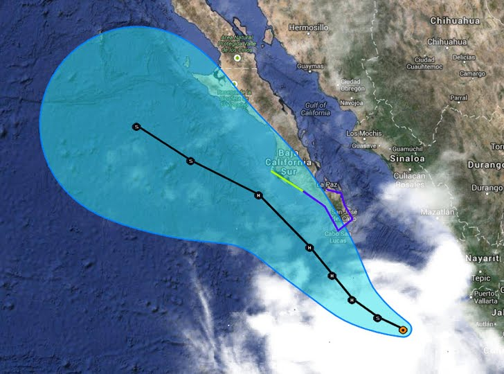 On the forecast track the center of Norbert is expected to approach the southern tip of the Baja California peninsula on Thursday