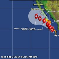 Tropical storm Norbert is forecast to strike Mexico as a hurricane at about 06:00 GMT on 6 September. Data supplied by the US Navy and Air Force Joint Typhoon Warning Center suggest that the point of landfall will be near 24.0 N, 112.7 W. Norbert is expected to bring 1-minute maximum sustained winds to the region of around 138 km/h (86 mph). Wind gusts in the area may be considerably higher