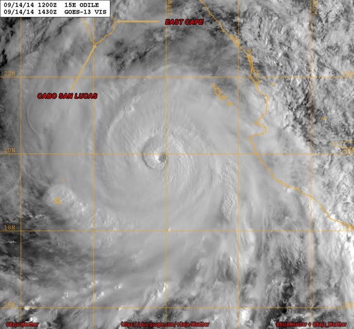 Rapidly strengthening Hurricane Odile further intensified Sunday and was swirling over the Pacific as a major storm expected to make a close brush with the southern portion of Mexico's Baja California peninsula later in the evening