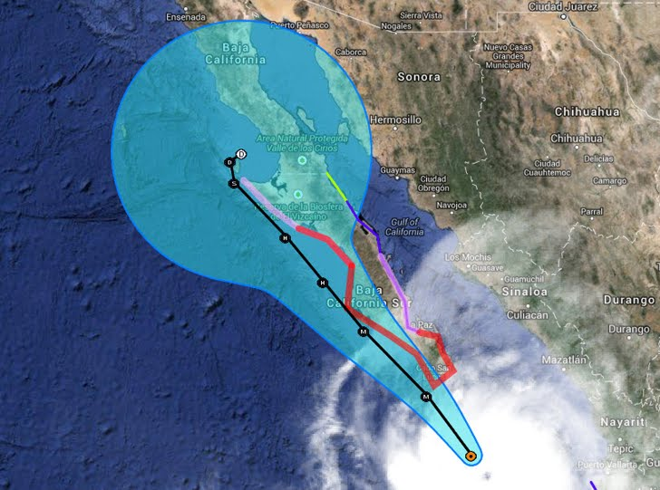 At 200 PM PDT 2100 UTC the center of the eye of major Hurricane Odile was located by an Air Force Reserve reconnaissance aircraft near latitude 21.1 north - longitude 108.9 west