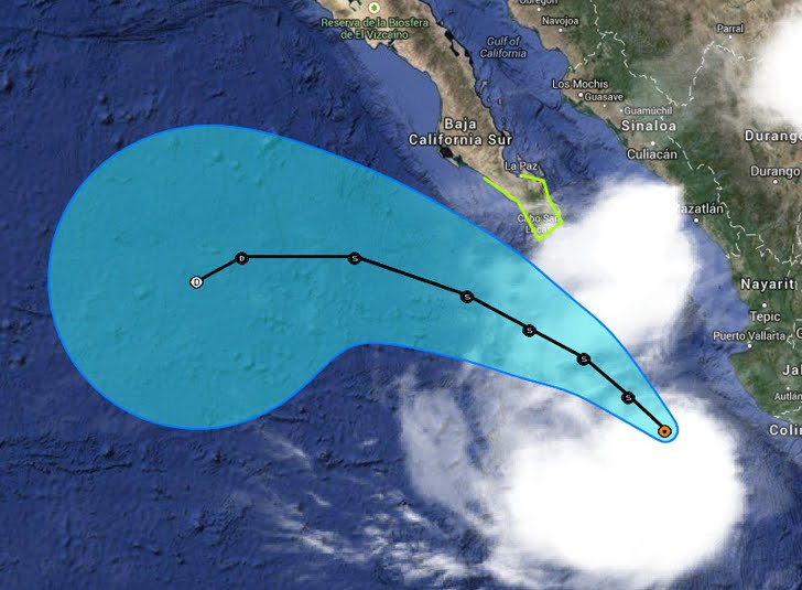 Tropical Storm Polo is moving away from the southwestern Mexican coast, where Manzanillo reported a sustained wind of 29 mph with a gust to 40 mph Wednesday afternoon, while over 2 inches of rain fell at Ixtapa