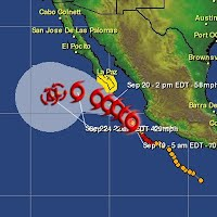 Tropical storm conditions are possible within the watch area in southern Baja California on Saturday