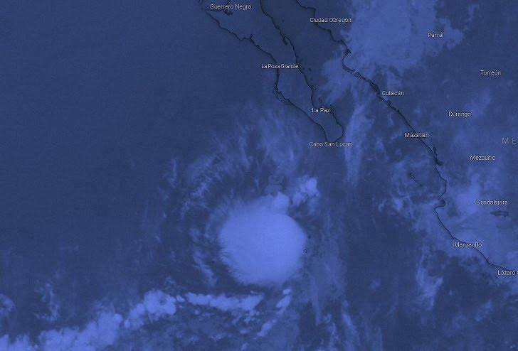 """Tropical storm """"Henriette"""" forms about 390 km (245 mi) SSW of the southern tip of Baja California"""